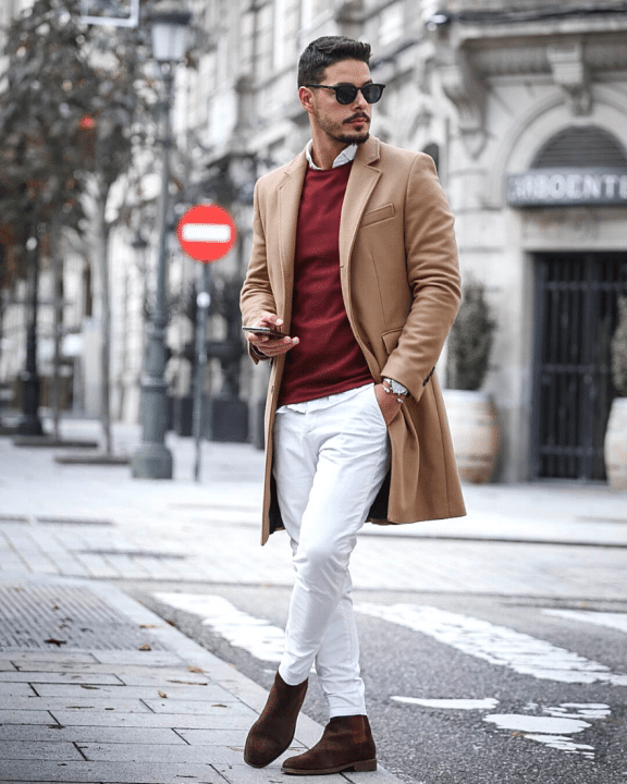Casual Business Look mit Jeanshose, Hemd, Pullover, Wollmantel und Chelsea Boots.